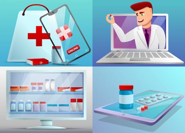 Online pharmacy illustration set on cartoon style