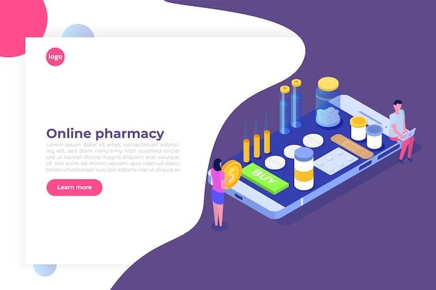 薬の丸薬瓶とオンライン薬局の等尺性の概念。