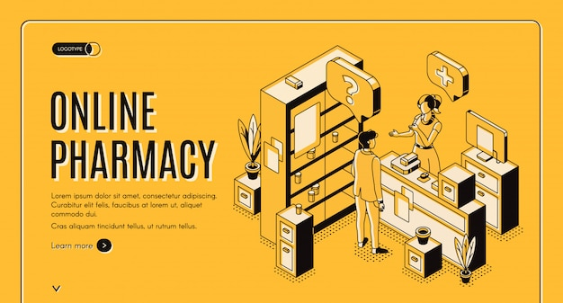 Online pharmacy isometric web banner