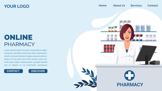 Online pharmacy landing page concept with pharmacist in drugstore premium vector