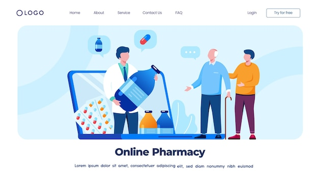 オンライン薬局のランディングページのコンセプト
