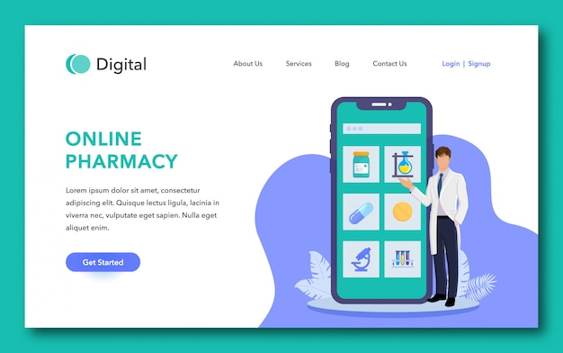 Online pharmacy landing page