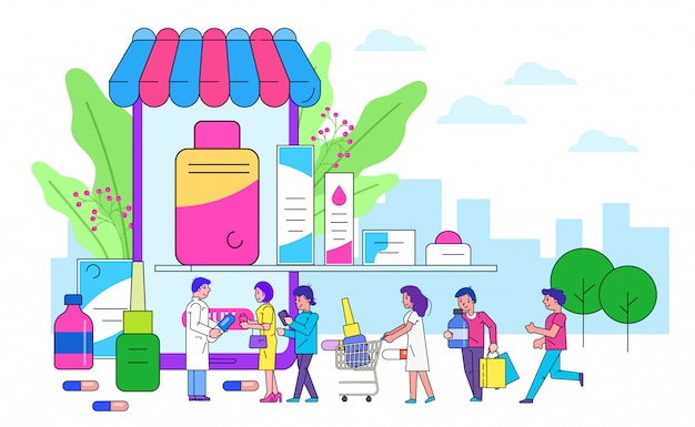 Интернет-аптека, линия иллюстрации. современные технологии здравоохранения, покупайте лекарства в мобильном приложении. патинент возле смартфона