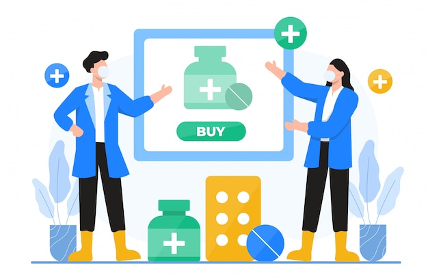 Online pharmacy and medicines concept illustration