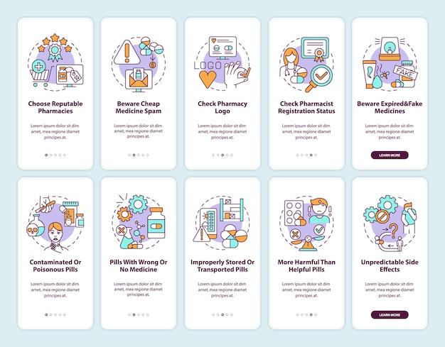 온라인 약국 온 보딩 모바일 앱 페이지 화면 개념. 약 구매 온라인 팁은 10 단계 그래픽 지침을 안내합니다. rgb 색상 삽화가있는 ui 템플릿