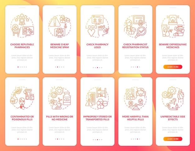 コンセプトのあるオンライン薬局のオンボーディングモバイルアプリページ画面。薬局のロゴのチュートリアル10ステップを確認してください。 rgbカラーイラスト付きのuiテンプレート