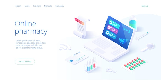 Интернет-аптека или концепция аптеки в изометрической иллюстрации