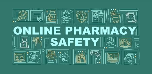 Баннер концепции слова безопасности интернет-аптеки. кибербезопасность, покупка медикаментов. инфографика линейная на зеленом фоне. изолированная типография. наброски цветная иллюстрация rgb