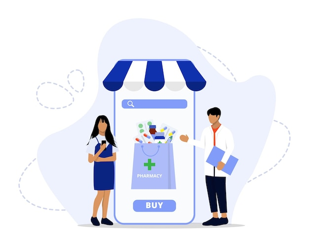 온라인 약국 서비스 개념 그림
