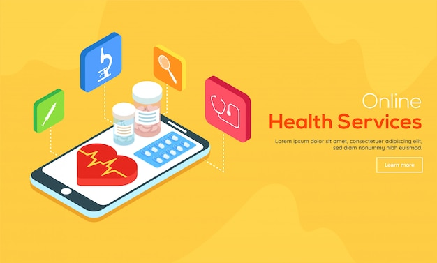 Online pharmacy service concept.
