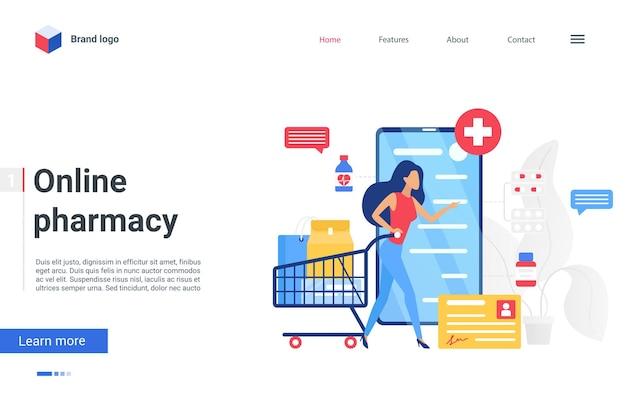 Целевая страница интернет-аптек, медицинских технологий, женщина, пациент, заказывающая лекарства