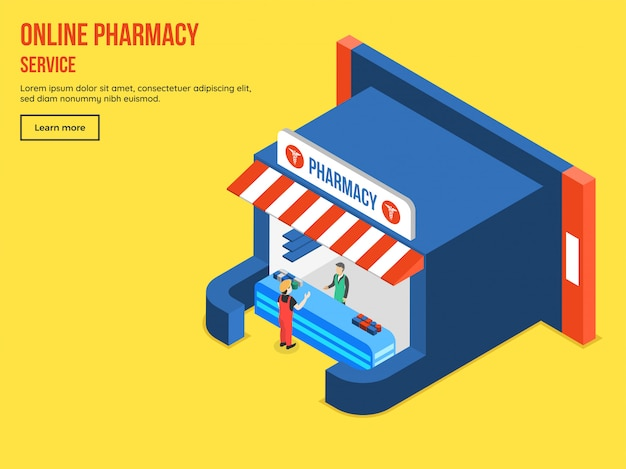 Online pharmacy service with isometric view of medical shop.