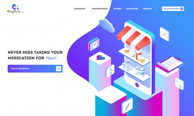 Online pharmacy service with isometric view of medical shop