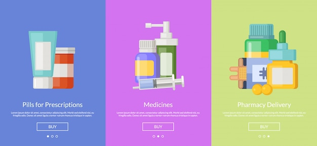Online pharmacy slideshow template cards for buying medicines