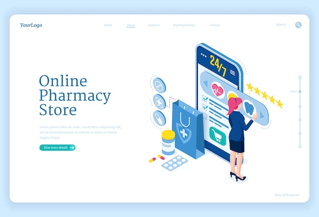 Online pharmacy store banner. mobile drugstore service. landing page with isometric woman and smartphone with application for purchases medical drugs, pills and healthcare products