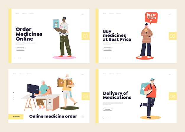 Online pharmacy store concept of set of landing pages with people buying medications in web and courier boy deliver medicines to home