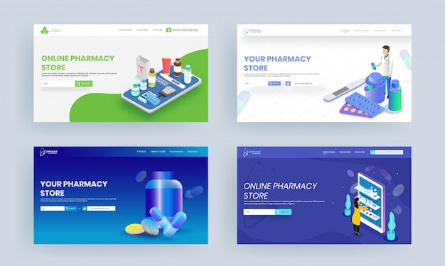 Online pharmacy store landing page design with medical elements set.