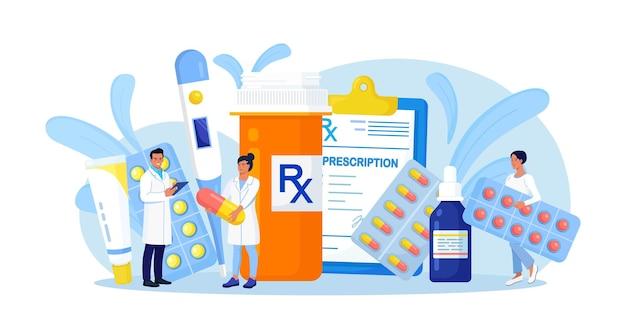 온라인 약국 매장. 약 알약과 병 근처에 서 있는 약국의 약사. 약을 선택하는 의료진. 의료 실험실, 직원이 있는 제약 실험실. 환자를 위한 의사 진료