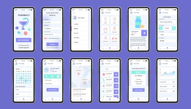 앱을위한 온라인 약국 고유의 디자인 키트. 의약품 설명, 매장 위치 및 가격이 표시된 인터넷 약국 화면. 약국 상점 ui, ux 템플릿 세트. 반응 형 모바일 애플리케이션을위한 gui