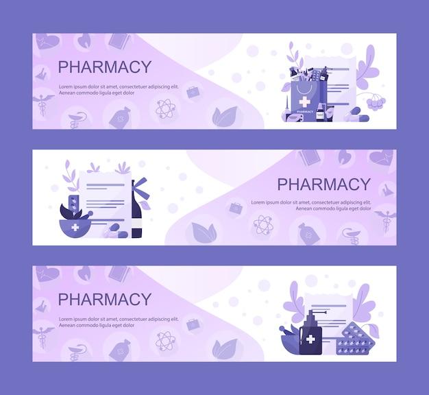 オンライン薬局のウェブヘッダーなど病気の治療と処方フォームの薬。医学とヘルスケア。ドラッグストアwebバナーまたはwebサイトインターフェイスのアイデア。
