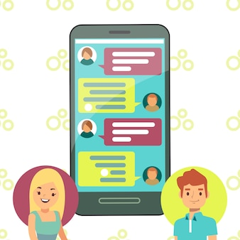 Online phone chat concept - girl and boy cell chatting