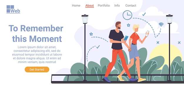 Online photo hosting service storing photo, file. automatic backup, storage, security. man woman couple using smartphone walking outdoor. remember moment anytime. landing page design template