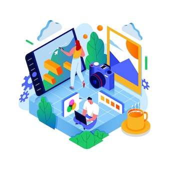 Online photography courses isometric concept