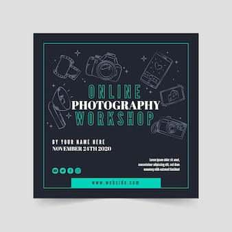 Online photography square flyer template