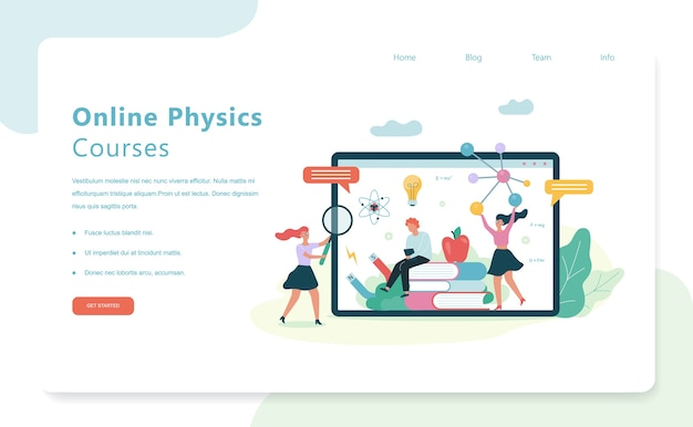 Online physics courses. school subject. idea of science