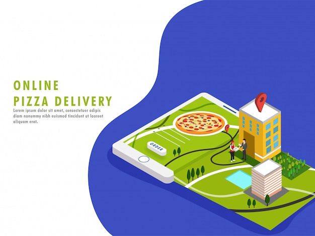 Online pizza delivery concept.