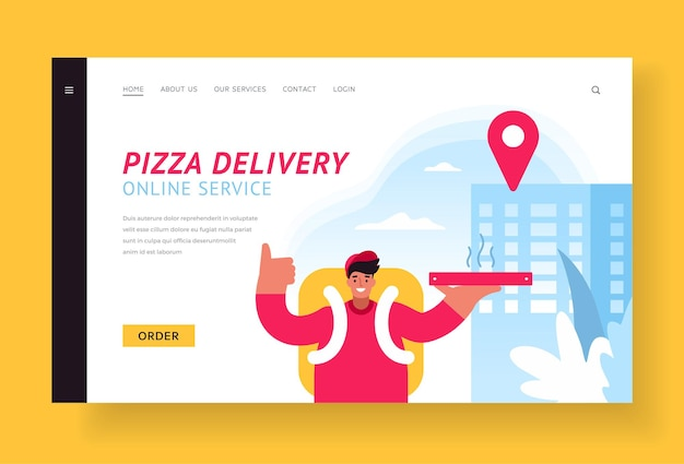 Online pizza delivery landing page