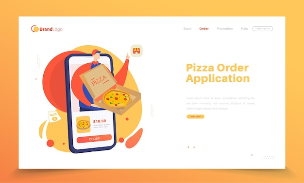 방문 페이지의 온라인 피자 주문 앱
