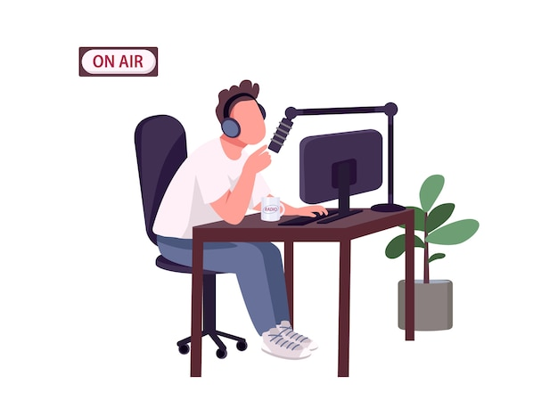 Online podcast host flat color faceless character