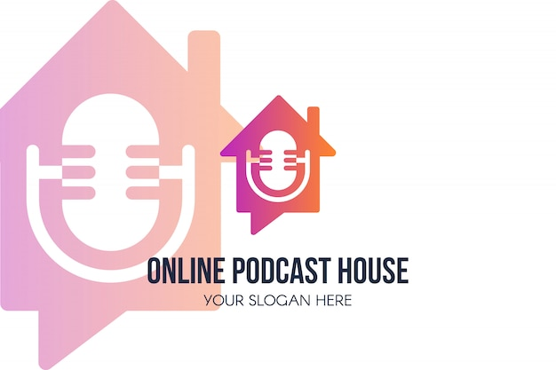 Online podcast house logo