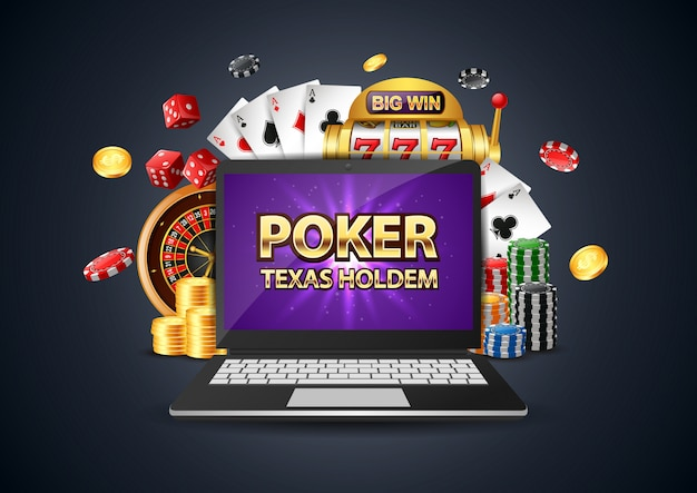 Online poker casino banner with a computer