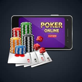 Online poker casino banner with a mobile phone. vector illustration