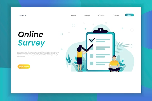 Online polling and survey vector illustration concept web page template with character