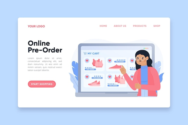 Online pre-order landing page