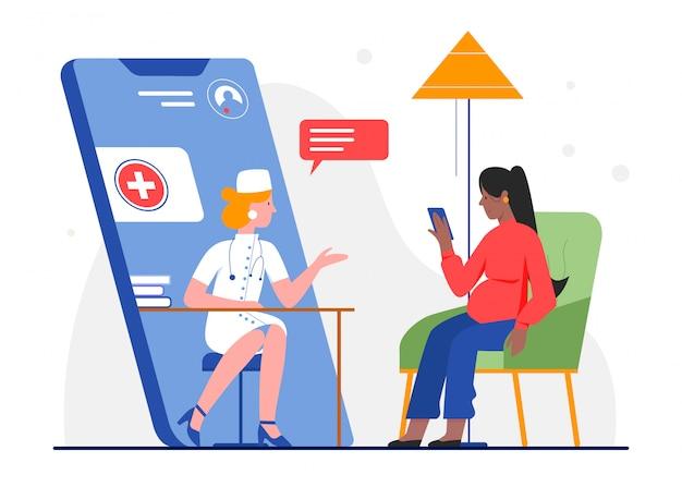 Онлайн беременная медицинская консультация иллюстрации. мультяшный доктор-персонаж консультирует женщину-пациента в приложении чата через смартфон. здравоохранение медицины беременности на белом