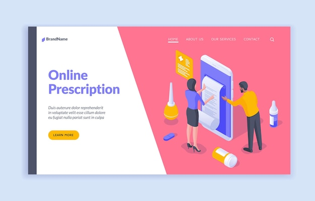 Online prescription isometric vector illustration