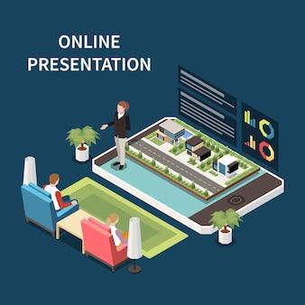 オンラインプレゼンテーションと会議のアイソメ図
