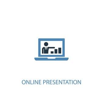 オンラインプレゼンテーションのコンセプト2色のアイコン。シンプルな青い要素のイラスト。オンラインプレゼンテーションのコンセプトシンボルデザイン。 webおよびモバイルui / uxに使用できます
