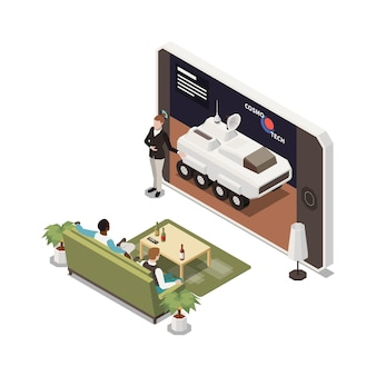 Онлайн-презентация в гостиной со смартфоном и ведущим