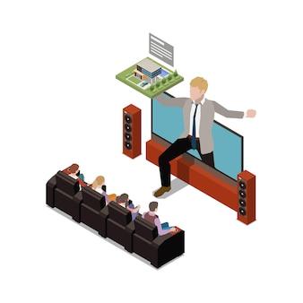 テレビとプレゼンターのいるリビングルームでのオンラインプレゼンテーション