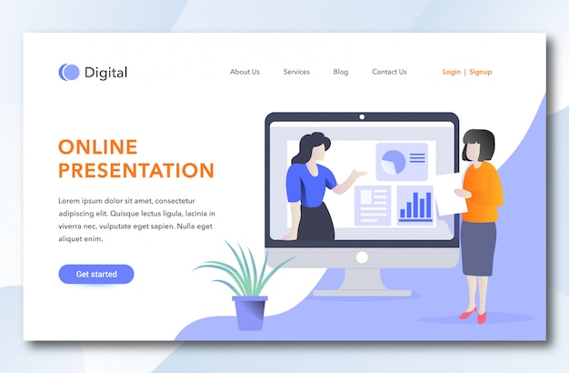 Online presentation landing page template