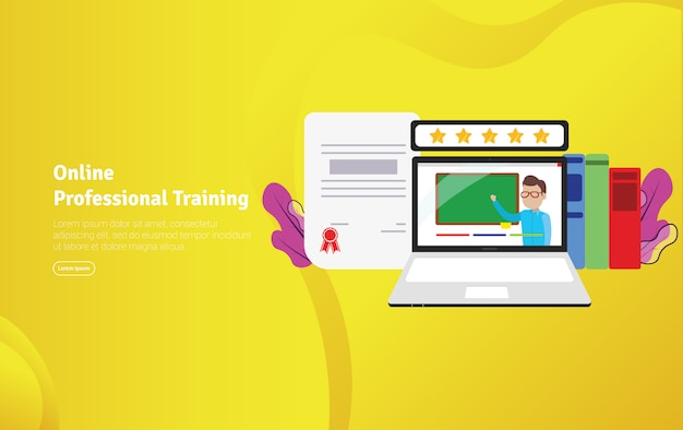 Online professional training illustration banner