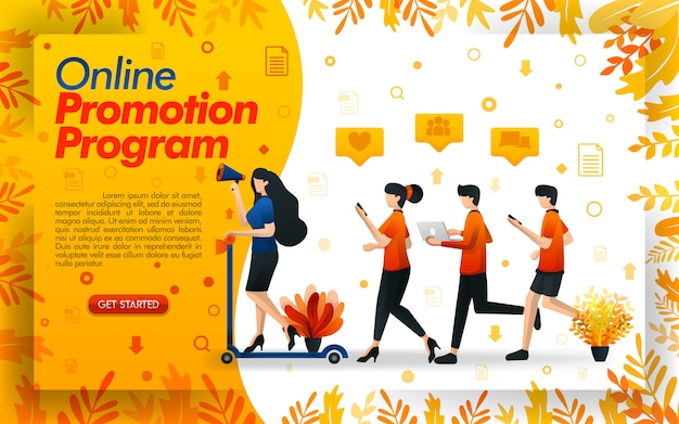Online promotion program with illustrations of people running around