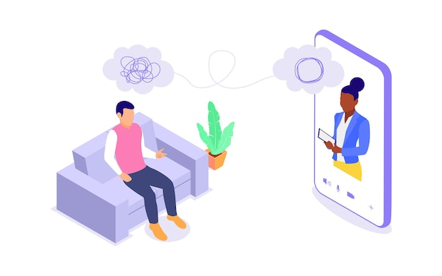 Online psychological counseling concept. a woman provides psychological assistance to a man. flat vector isometric illustration isolated on white background.