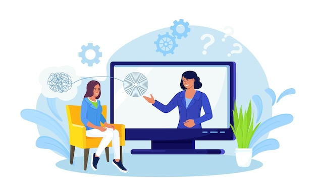 Online psychology. psychologist doctor helps patient to unravel tangled thoughts. psychological problems, mental disorder, treatment of stress, addictions. psychotherapy counseling