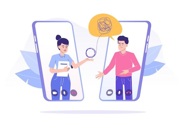 Интернет-психотерапия в плоском дизайне